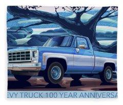 1980 Chevy Custom C10 Short Bed Poster Art Fleece Blanket
