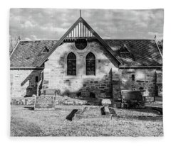 19th Century Sandstone Church In Black And White Fleece Blanket