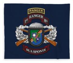 1st Ranger Battalion - Army Rangers Special Edition Over Blue Velvet Fleece Blanket