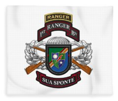 1st Ranger Battalion- Army Rangers Special Edition Over White Leather Fleece Blanket