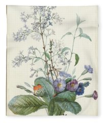 A Bouquet Of Flowers With Insects  Fleece Blanket