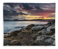 Colours Of A Stormy Sunrise Seascape Fleece Blanket