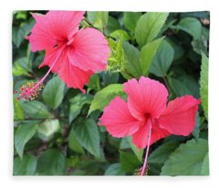 2 Hibiscus Fleece Blanket