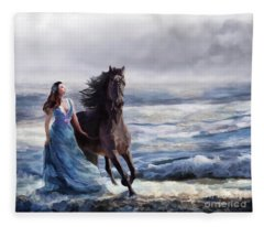 Fleece Blanket featuring the digital art Lady In Blue by Melinda Hughes-Berland