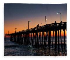 Nags Head Fishing Pier Fleece Blanket