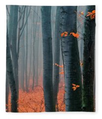 Orange Wood Fleece Blanket