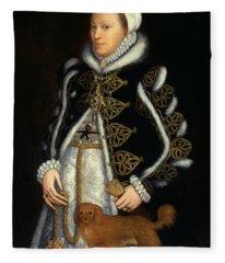 Portrait Of A Woman, Probably Catherine Carey, Lady Knollys Fleece Blanket