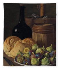Still Life With Figs And Bread Fleece Blanket