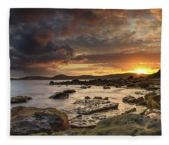 Stormy Sunrise Seascape Fleece Blanket