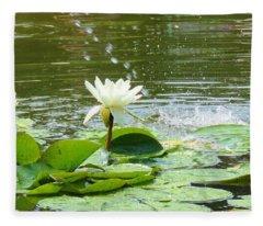 2 White Water Lilies Fleece Blanket