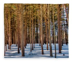 Winter Trees Fleece Blanket