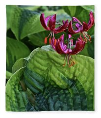 2019 June At The Gardens Lily And Hosta Fleece Blanket