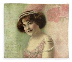 20th Century Actress In Beaded Gown Fleece Blanket