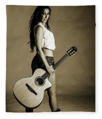 221.1855 Guitar Model In Black And White Photograph Fleece Blanket