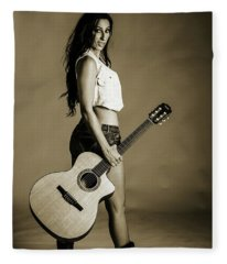 221.1855 Guitar Model In Black And White Photograph Fleece Blanket