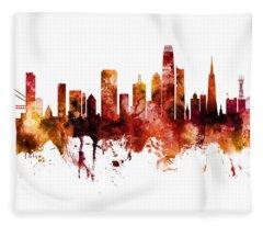 San Francisco City Skyline Fleece Blanket