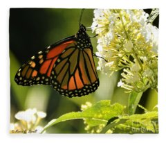 M White Flowers Collection No. W12 - Monarch Butterfly Sipping Nectar Fleece Blanket