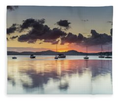 Overcast Morning On The Bay With Boats Fleece Blanket