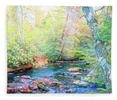 Pocono Mountain Stream, Pennsylvania Fleece Blanket