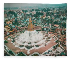 Stupa Temple Bodhnath Kathmandu, Nepal From Air October 12 2018 Fleece Blanket