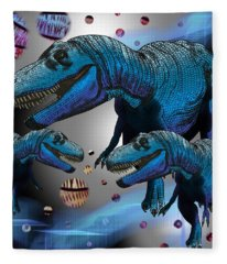 Tyrannosaurus Three Moons Fleece Blanket