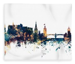 Edinburgh Scotland Skyline Fleece Blanket