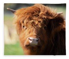 Highland Cow On The Farm Fleece Blanket