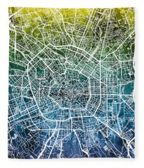 Milan Italy City Map Fleece Blanket