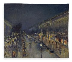 The Boulevard Montmartre At Night Fleece Blanket