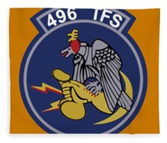 496th Tactical Fighter Squadron  Fleece Blanket
