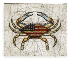 4th Of July Crab Fleece Blanket