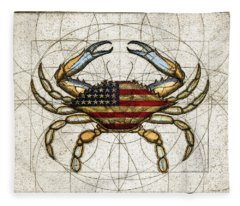 4th Of July Crab Fleece Blanket