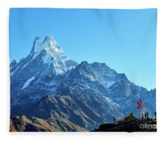 Fleece Blanket featuring the photograph Machapuchare Mountain Fishtail In Himalayas Range Nepal by Raimond Klavins