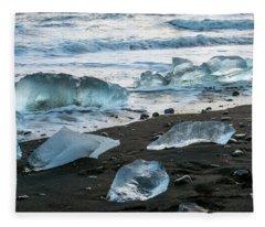 The Diamond Beach, Jokulsarlon, Iceland Fleece Blanket