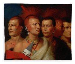 Young Omahaw, War Eagle, Little Missouri, And Pawnees Fleece Blanket