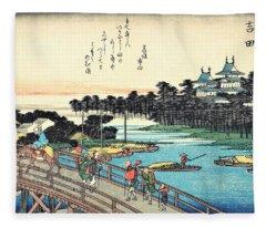 53 Stations Of The Tokaido - Yoshida Fleece Blanket