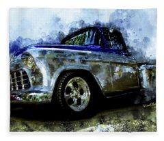 56 Chevro Pickup Dreaming Of Chrome Fleece Blanket
