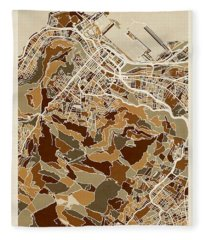 Cape Town South Africa City Street Map Fleece Blanket