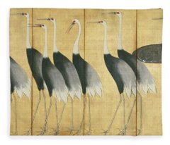 6 Panel Screen Depicting Cranes, Edo Period  Fleece Blanket