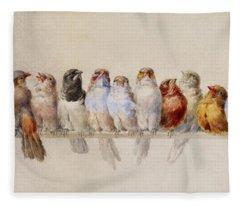 A Perch Of Birds  Fleece Blanket