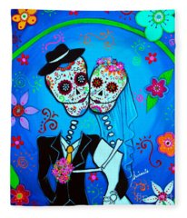 Wedding Dia De Los Muertos Fleece Blanket