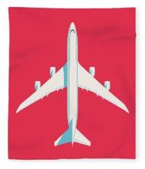 747-8 Jumbo Jet Airliner Aircraft - Crimson Fleece Blanket