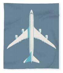 747-8 Jumbo Jet Airliner Aircraft - Slate Fleece Blanket