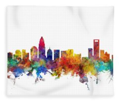 Charlotte North Carolina Skyline Fleece Blanket