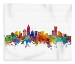 Charlotte North Carolina Skyline Fleece Blanket