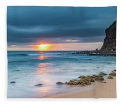 Sunrise Seascape And Cloudy Sky Fleece Blanket