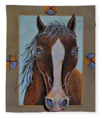 A Blue Eyed Horse Fleece Blanket