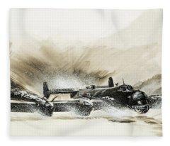 A Crippled Halifax Bomber Lands On The Ice Fleece Blanket