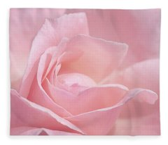 A Delicate Pink Rose Fleece Blanket