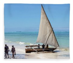 A Dhow In Zanzibar Fleece Blanket